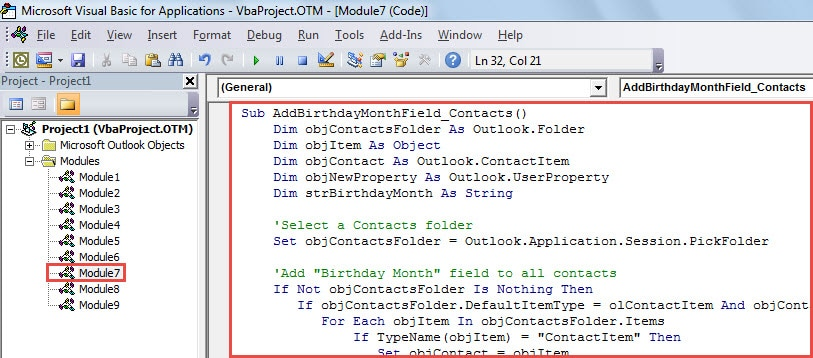 VBA Code - Group Contacts by Birthday Month in List View