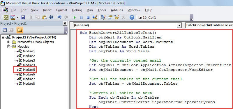 VBA Code -Batch Extract the Texts of All Tables