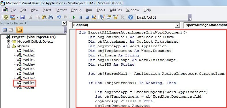 VBA Code -Export All Image Attachments of an Email to a Word Document