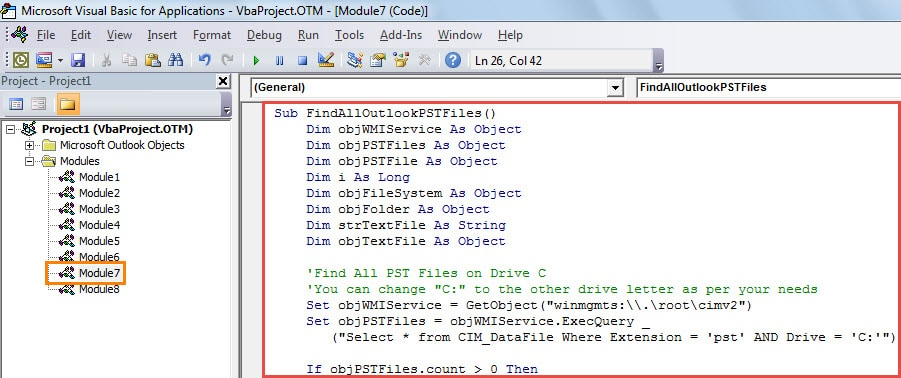 VBA Code - Get a List of All Outlook PST Files on Your Local Drive