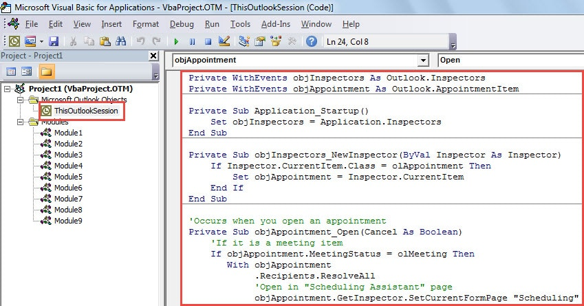 """VBA Code - Always Open Outlook Meetings with """"Scheduling Assistant"""" Page"""