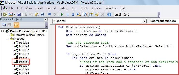 VBA Code - Restore Task Reminders