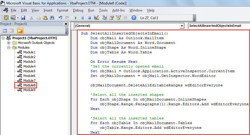 VBA Code - Quickly Select All the Inserted Objects in Your Email