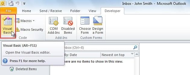 "Access VBA Editor by ""Visual Basic"" Button"