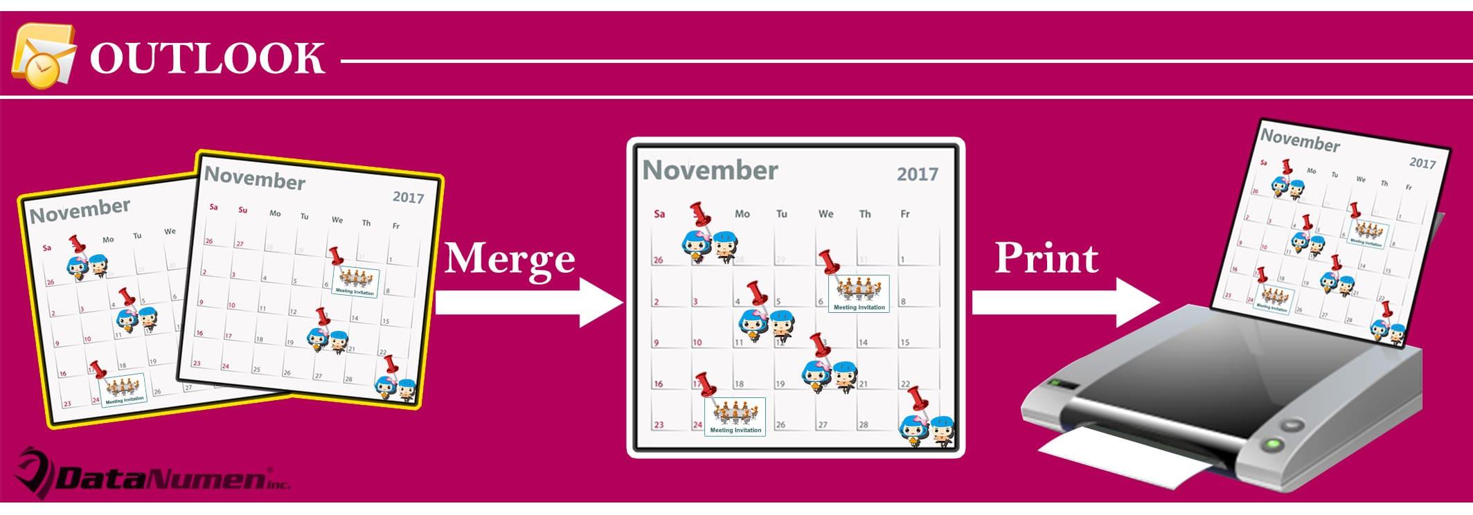 Merge & Print Multiple Outlook Calendars in Same Page