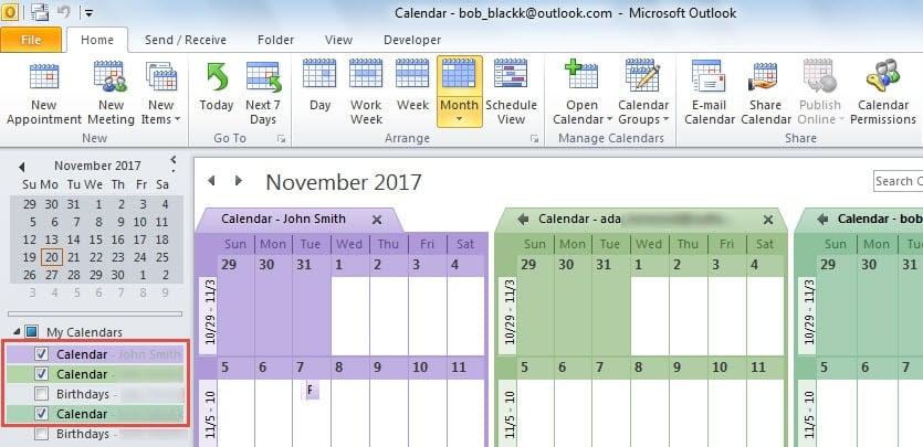 Select Calendars in Navigation Pane