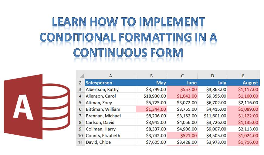 How to Implement Conditional Formatting in a Continuous Form