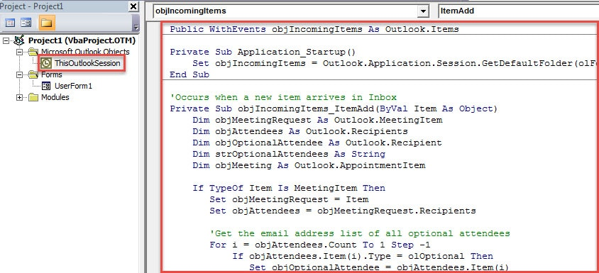 VBA Code - Auto Remove the Meeting Reminders If You're an Optional Attendee