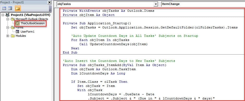 VBA Code - Auto Insert & Update Countdown Days in Tasks' Subjects