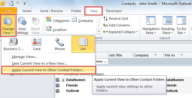 Apply Current View to Other Contacts Folder