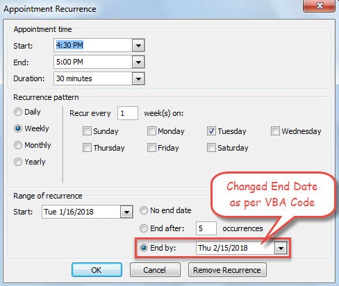 Changed Recurrence End Date as per Code