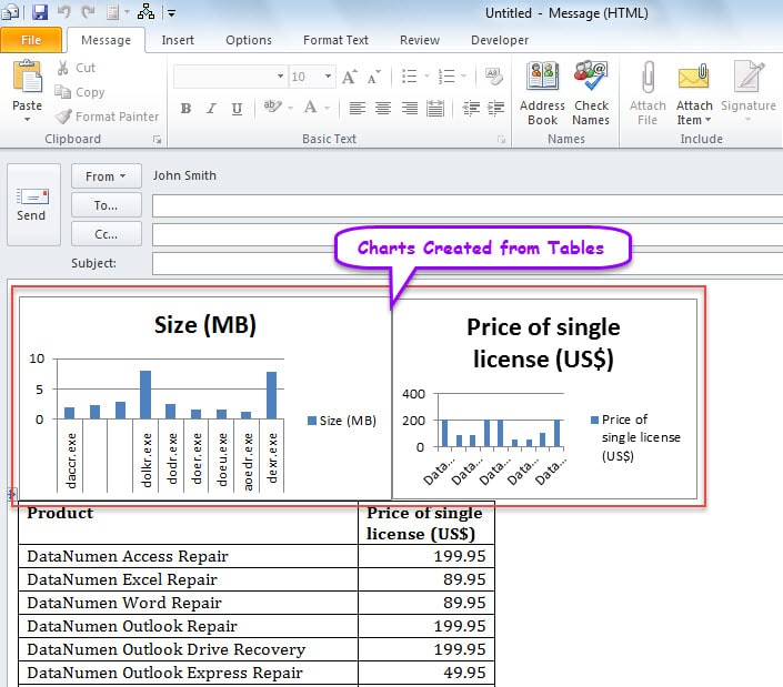How to batch create charts from tables in your outlook for Email table design