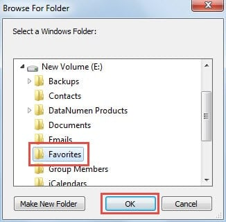 Select Destination Windows Folder