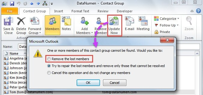 Remove the lost members