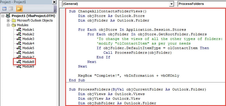 VBA Code - Batch Change Views of All Folders in Same Type