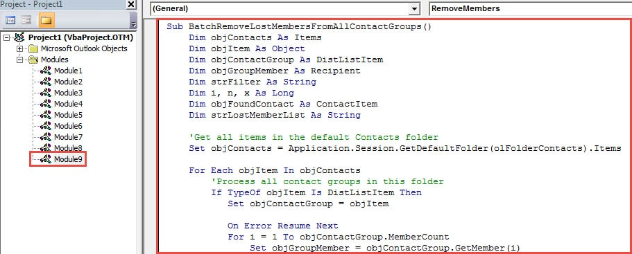 VBA Code - Batch Remove All Lost Members from Contact Groups