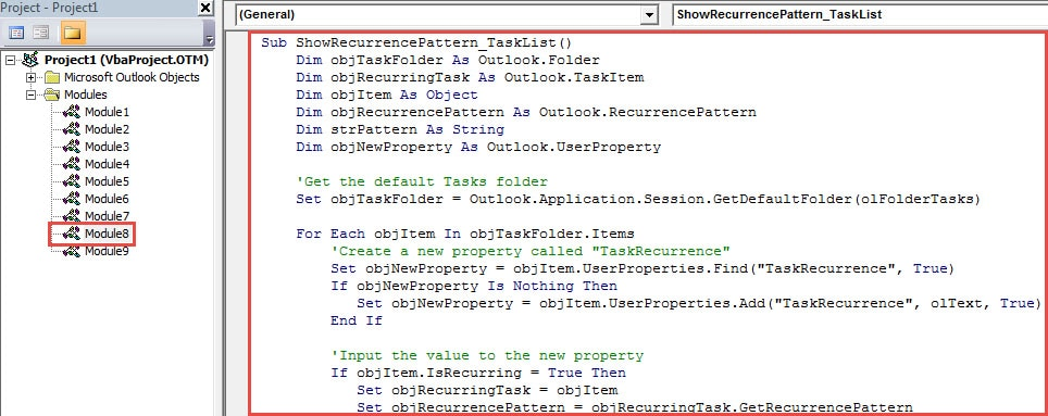 VBA Code - Create Task Recurrence Pattern Field