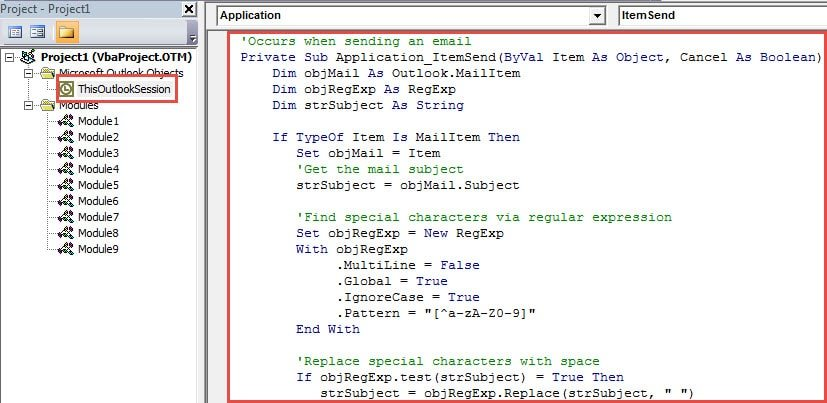 VBA Code - Auto Remove Special Characters in Email Subject