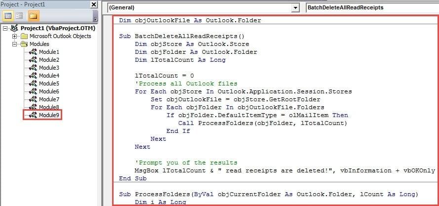 VBA Code - Batch Delete All Read Receipts