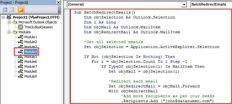 VBA Code - Batch Redirect Multiple Emails