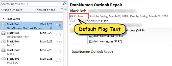 Default Flag Texts in Flagged Items