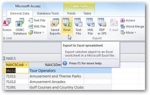Export The Data In Access Database To An Excel Sheet
