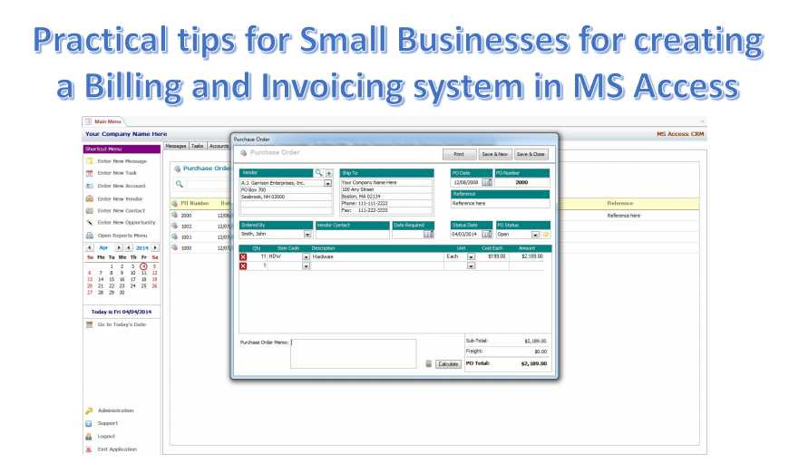 Practical Tips For Small Businesses For Creating A Billing And Invoicing System In MS Access