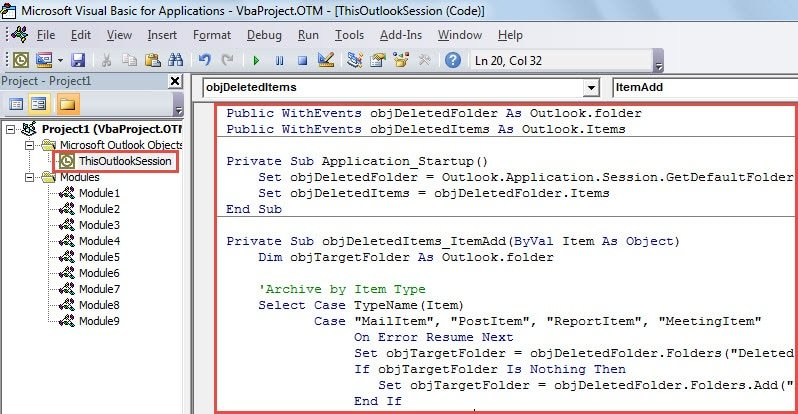 VBA Code - Auto Move Different Types of Deleted Items into Different Folders