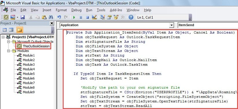 VBA Code - Auto Insert Signature to Outgoing Task Requests
