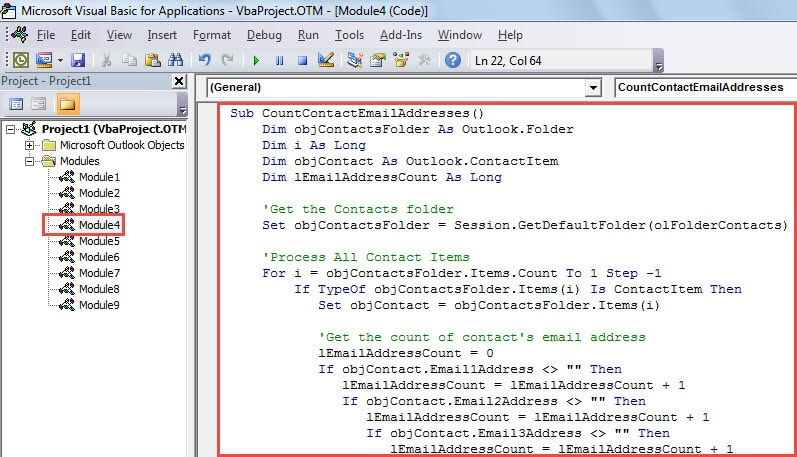 VBA Code - Find All Contacts Having More than One Email Address
