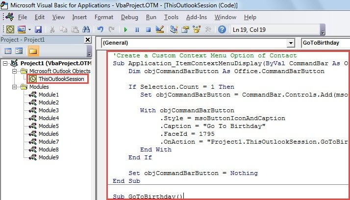 VBA Code - Quickly Jump to a Contact's Birthday in Calendar