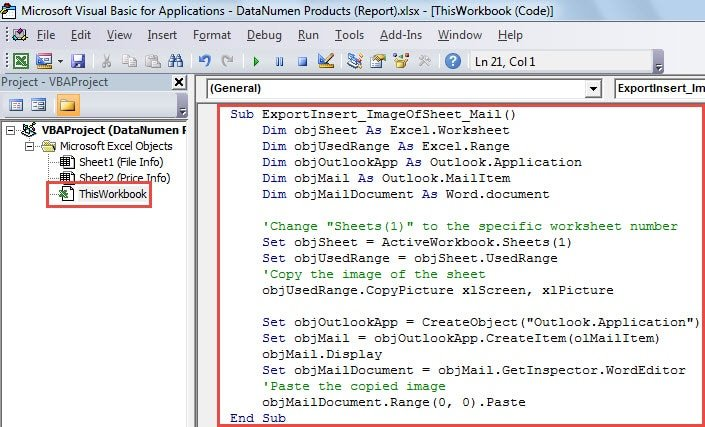VBA Code - Copy the Screenshot of Excel Worksheet into Mail Body