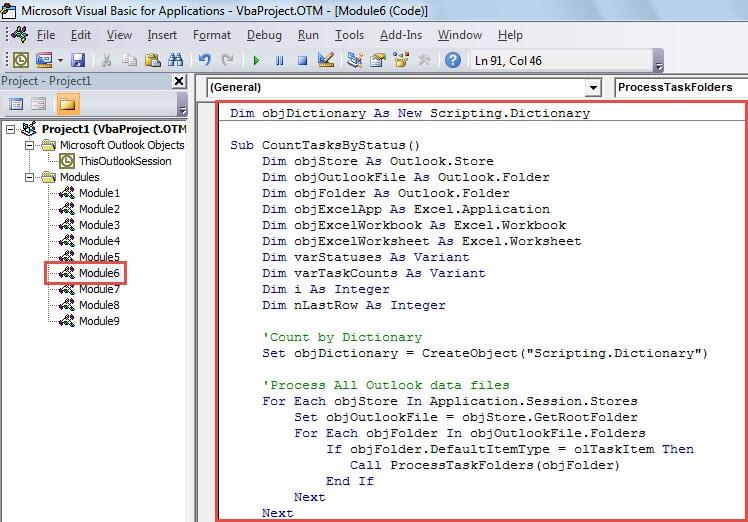 VBA Code - Count Tasks by Status