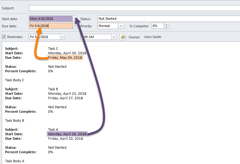 Manually Change Start and Due Date