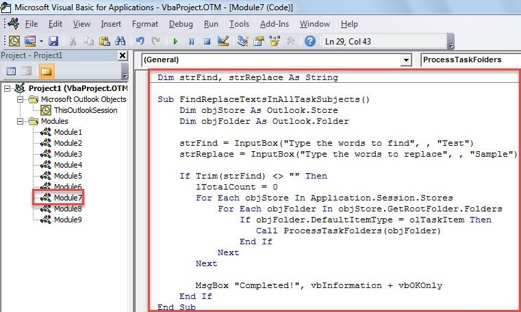VBA Code - Batch Find and Replace Text in All Tasks