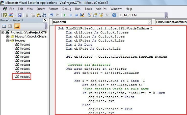 VBA Code - Find All Outlook Rules Containing Specific Keyword