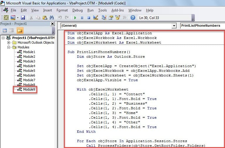 VBA Code - Quickly Print a List of All Contacts' Phone Numbers