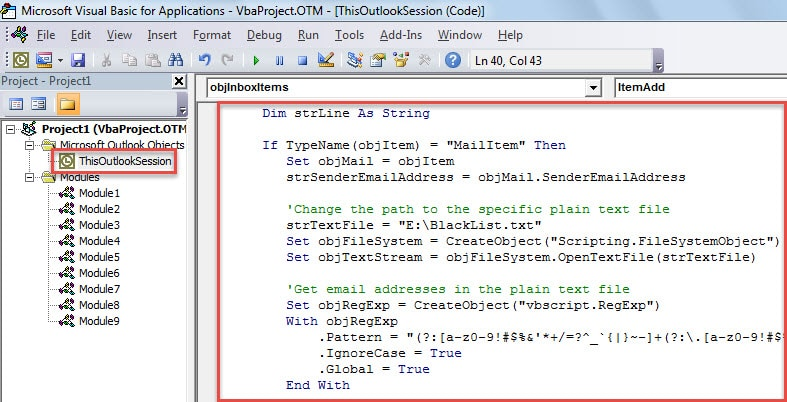 VBA Code - Auto Block Unwanted Emails with the Blacklist in a Text File