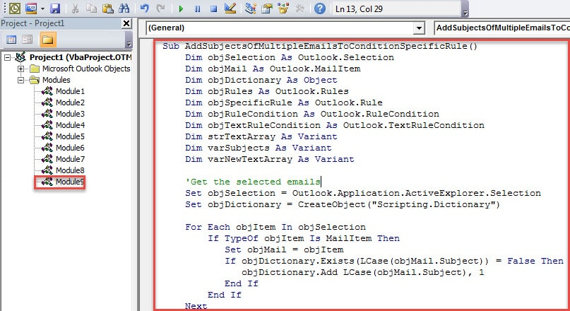 VBA Code - Add the Subjects of Multiple Emails to the Condition of a Specific Rule