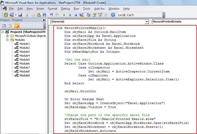 VBA Code - Auto Log Each Printed Email in Excel Workbook
