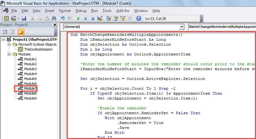 VBA Code - Batch Change the Reminder Time of Multiple Appointments
