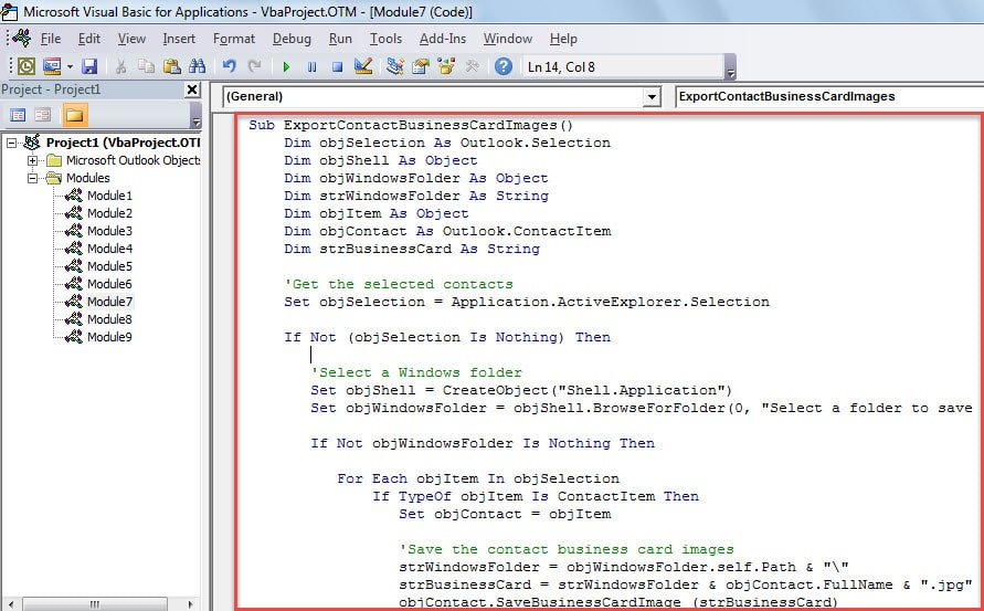 VBA Code - Batch Export the Business Card Images of Multiple Contacts