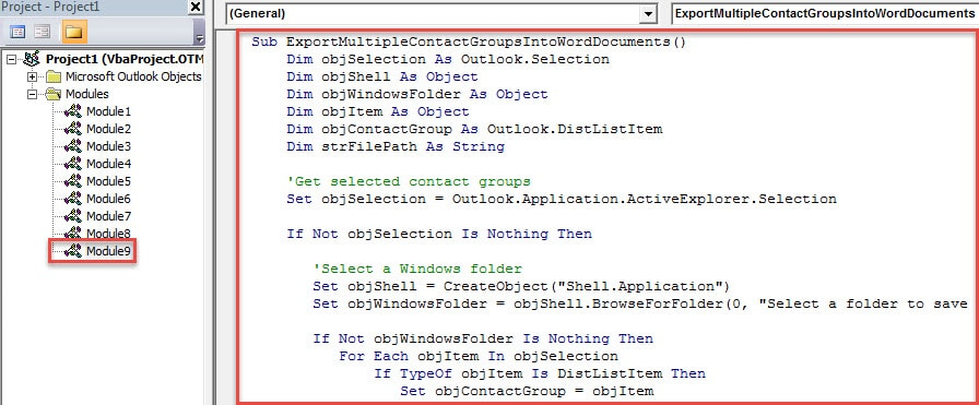 VBA Code - Batch Export Multiple Contact Groups to Text Files