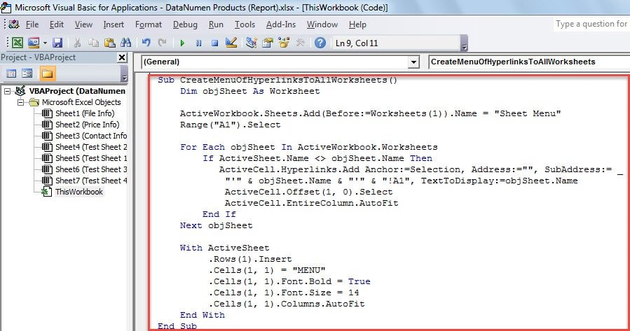 VBA Code - Create a List of Hyperlinks to All Worksheets