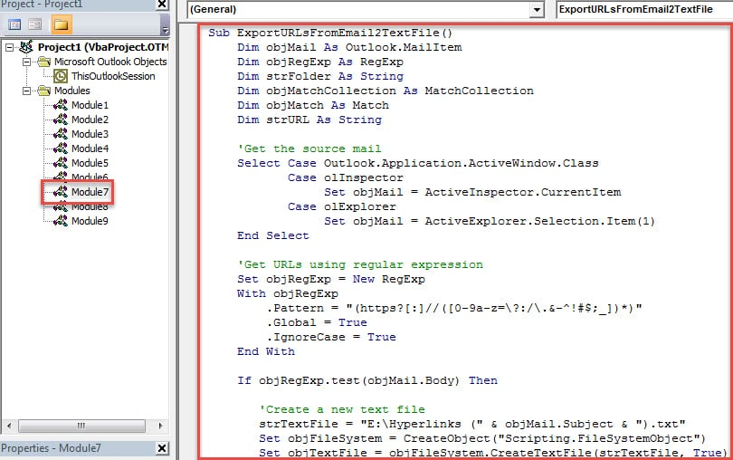 VBA Code - Extract All URLs in an Email to a Text File