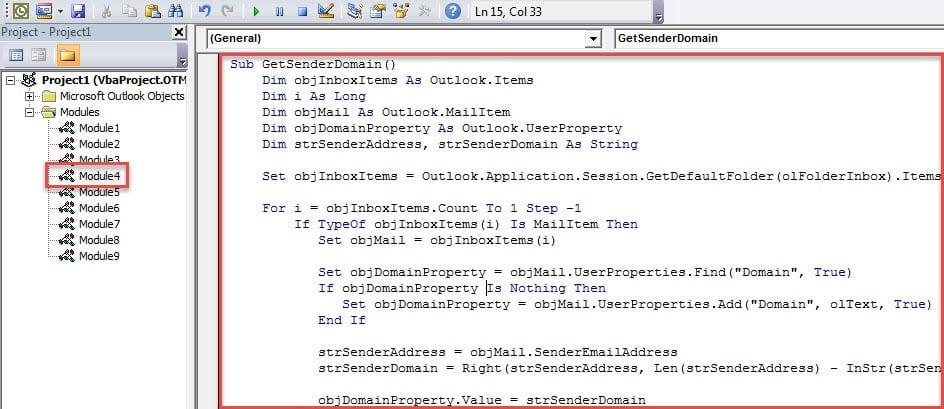 VBA Code - Get Sender Domain