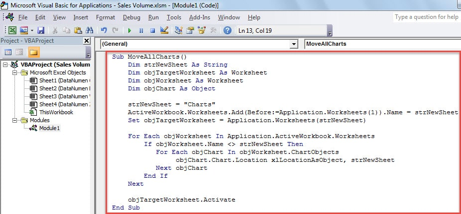 VBA Code - Batch Move All Charts from All Exiting Worksheets to a New Created One