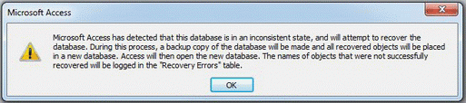 Microsoft Access has detected that this database is in an inconsistent state