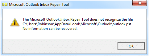 The Microsoft Outlook Inbox Repair Tool Does Not Recognize the File