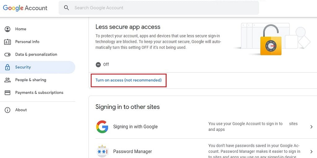 Allow Less Secure Apps in Gmail